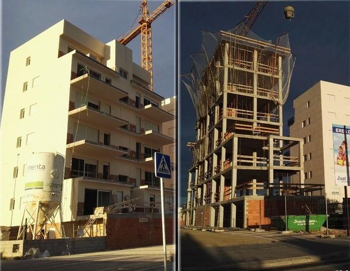 Estado obras en Residenciales Migjorn y Tramuntana, en la playa de Oliva (Valencia)